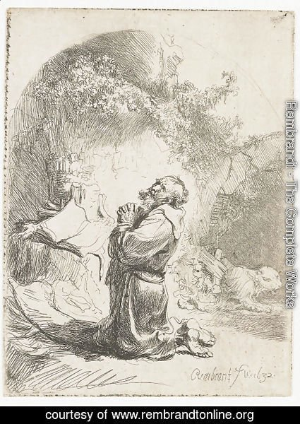 Rembrandt - Saint Jerome praying Arched