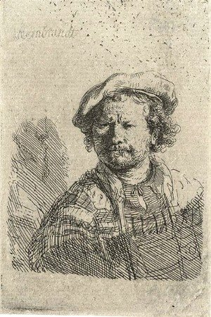 Rembrandt - Self Portrait in a flat Cap and embroidered Dress