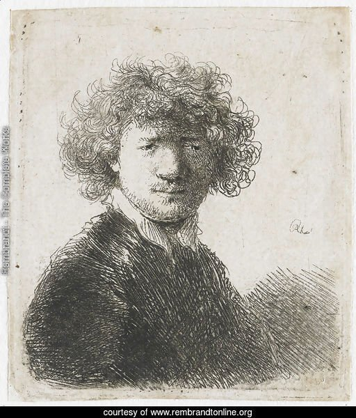 Self Portrait with curly Hair and white Collar Bust