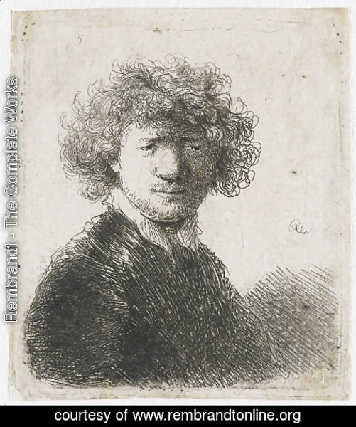 Rembrandt - Self Portrait with curly Hair and white Collar Bust