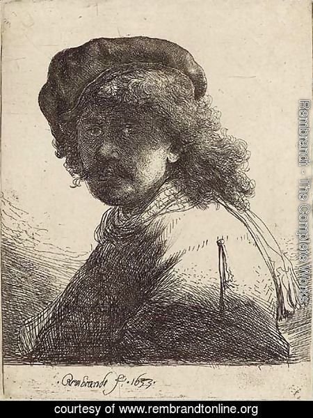 Self-Portrait in a Cap and Scarf with Face dark Bust