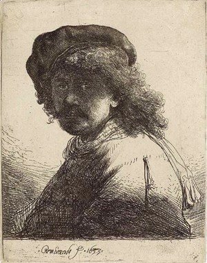 Rembrandt - Self-Portrait in a Cap and Scarf with Face dark Bust
