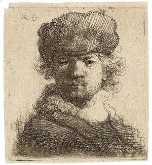 Rembrandt - Self-Portrait in a heavy Fur Cap Bust