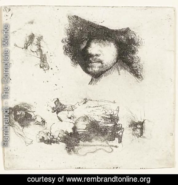 Rembrandt - Sheet of Studies Head of the Artist, a Beggar Couple, Heads of an old Man and an old Woman, etc.