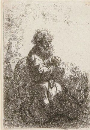 Rembrandt - St. Jerome kneeling in Prayer, looking down