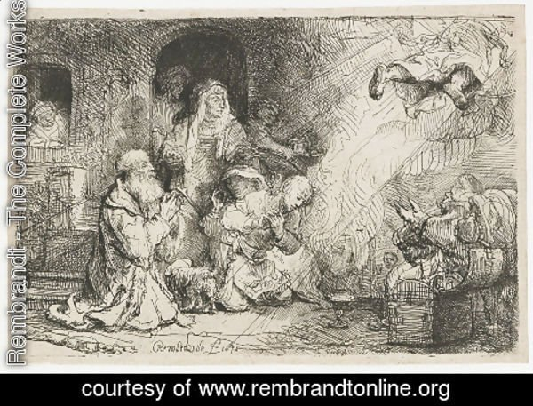 Rembrandt - The Angel departing from the Family of Tobias
