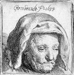 Rembrandt - The Artist's Mother in a Cloth Headdress, looking down Head only