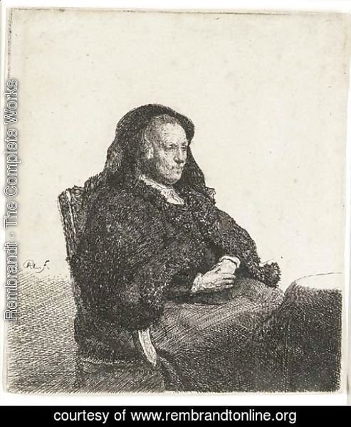 Rembrandt - The Artist's Mother seated at a Table looking right Three-quarter Length
