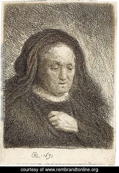 The Artist's Mother with her Hand on her Chest small Bust