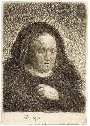 Rembrandt - The Artist's Mother with her Hand on her Chest small Bust