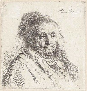 Rembrandt - The Artist's Mother, Head and Bust Three Quarters right
