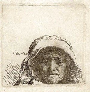 Rembrandt - The Artist's Mother Head only, full Face