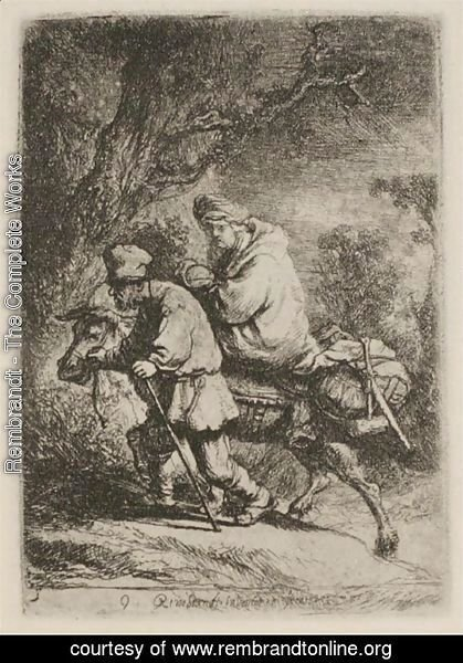 Rembrandt - The Flight into Egypt  Small Plate