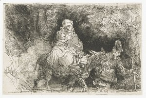 Rembrandt - The Flight into Egypt Crossing a Brook