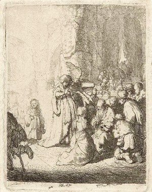 Rembrandt - The Presentation in the Temple with the Angel Small Plate