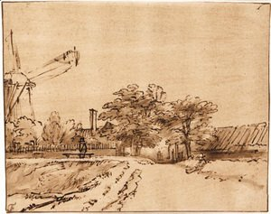 Rembrandt - The ramparts near the bulwark beside the city gate at St. Anthonispoort, Amsterdam