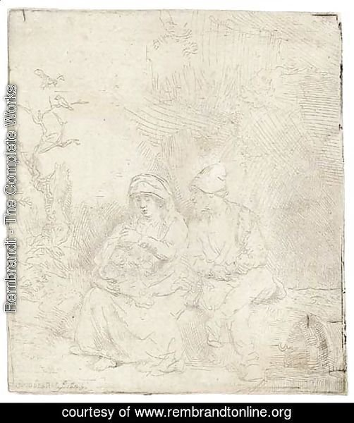 The Rest on the Flight into Egypt Lightly etched
