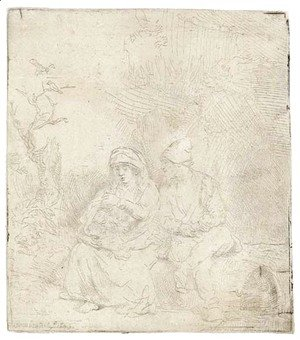 Rembrandt - The Rest on the Flight into Egypt Lightly etched