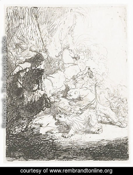 Rembrandt - The Small Lion Hunt (with two Lions)