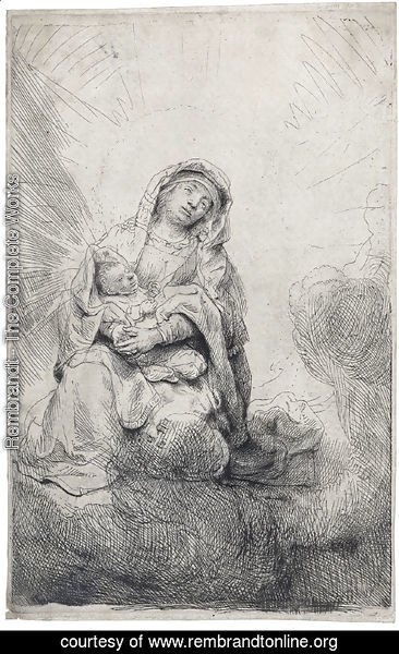 Rembrandt - The Virgin and Child in the Clouds