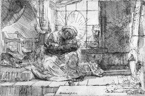 Rembrandt - The Virgin and Child with the Cat and Snake
