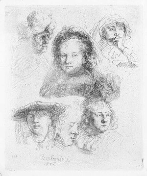 Rembrandt - Three Heads of Women, one asleep