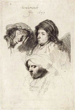 Rembrandt - Three Heads of Women one asleep