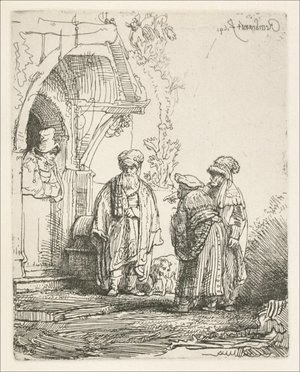 Rembrandt - Three oriental Figures (Jacob and Laban )