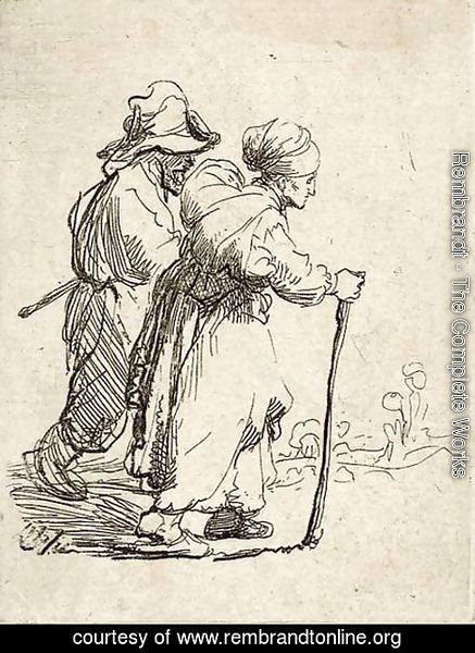 Rembrandt - Two Tramps; a Man and a Woman