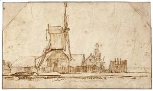 Rembrandt - Landscape With A Windmill And Other Buildings