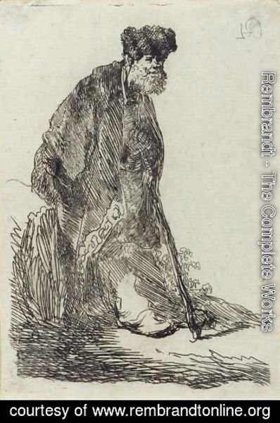 Man In A Cloak And Fur Cap Leaning Against A Bank