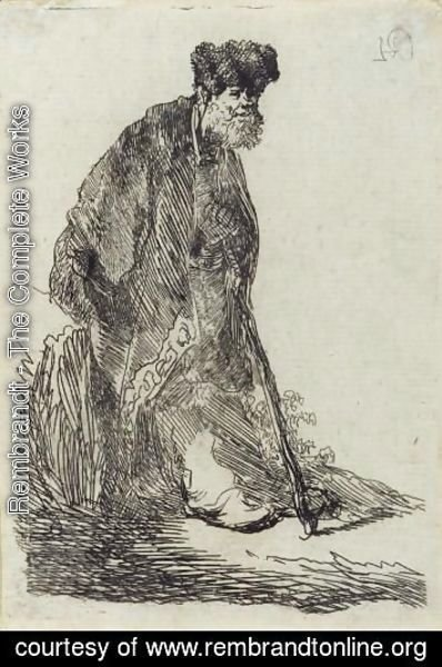 Rembrandt - Man In A Cloak And Fur Cap Leaning Against A Bank
