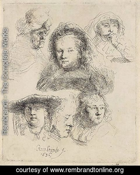 Rembrandt - Studies Of The Head Of Saskia And Others