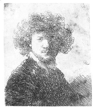 Rembrandt - Self Portrait With Curly Hair And White Collar Bust 2