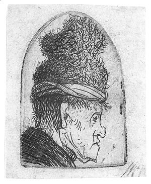 Rembrandt - Grotesque Profile Man In A High Cap