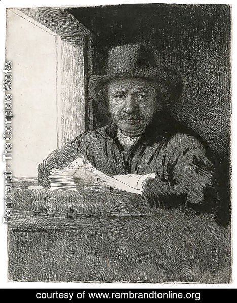 Rembrandt - Self Portrait Drawing At A Window