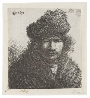 Rembrandt - Self Portrait In A Slant Fur Cap Bust