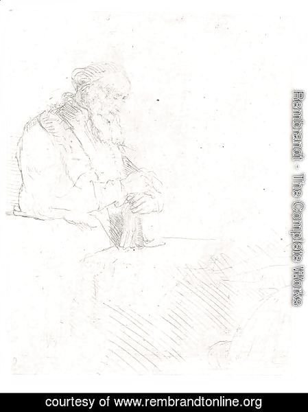 Rembrandt - Old Man In Meditation, Leaning On A Book