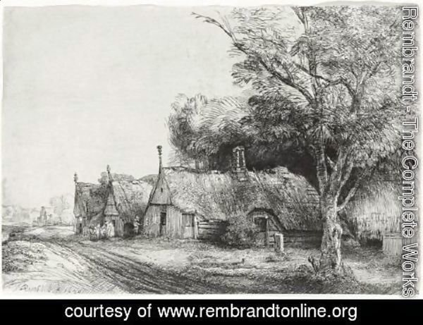 Rembrandt - Three Gabled Cottages Beside A Road
