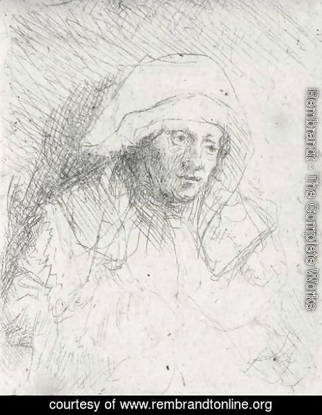 Rembrandt - Sick Woman With A Large White Headdress