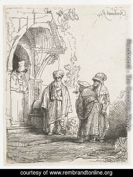 Rembrandt - Three Oriental Figures (Jacob And Laban)