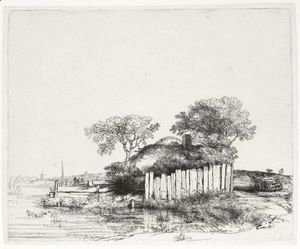 Rembrandt - Cottage With A White Paling