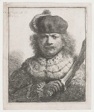 Rembrandt - Self-Portrait With Raised Sabre