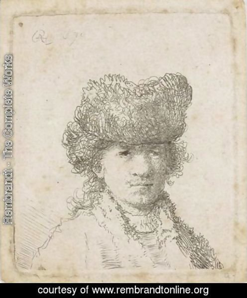 Rembrandt - Self Portrait In A Fur Cap