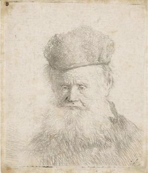 Rembrandt - Bust Of An Old Man With A Fur Cap And Flowing Beard, Nearly Full Face, Eyes Direct