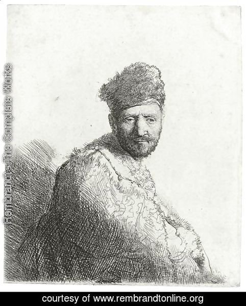 Bearded Man In A Furred Oriental Cap And Robe The Artist's Father