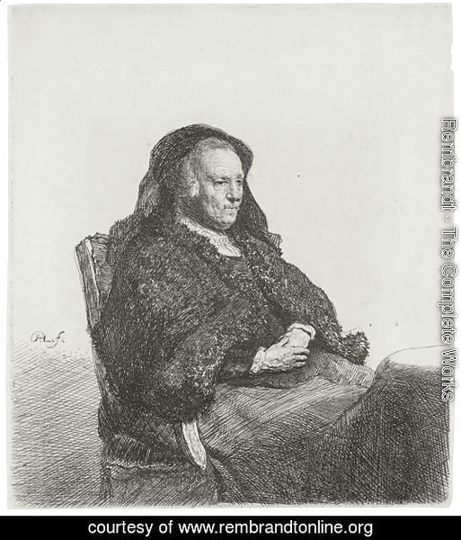 The Artist's Mother Seated At A Table, Looking Right Three Quarter Length