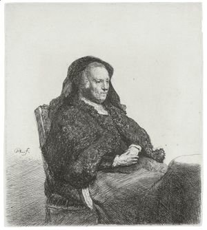 Rembrandt - The Artist's Mother Seated At A Table, Looking Right Three Quarter Length