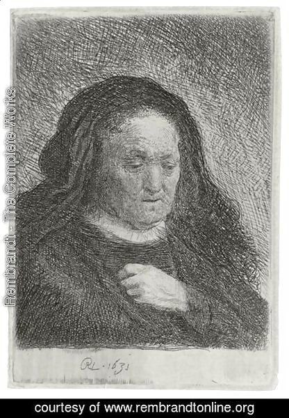 Rembrandt - The Artist's Mother With Her Hand On Her Chest