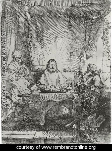 Rembrandt - Christ At Emmaus The Larger Plate